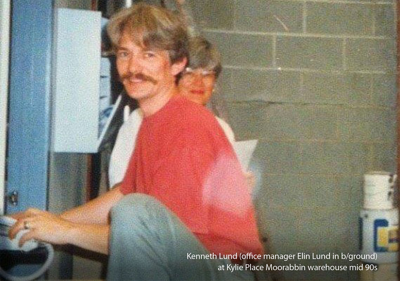 Kenneth Lund (office manager Elin Lund in background) at Kylie Moonrabbin warehouse mid 90s