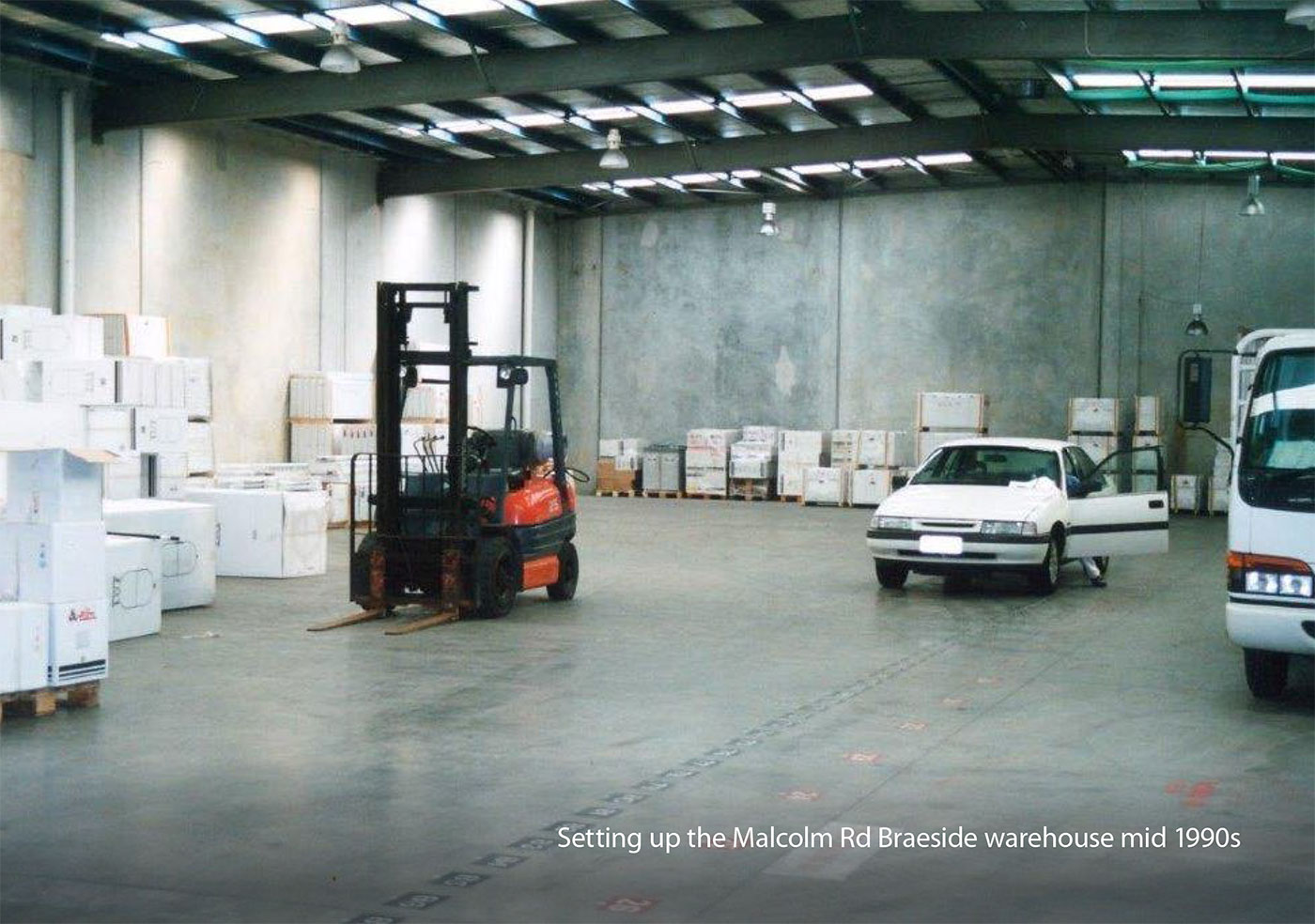 Setting up the Malcolm Td Braeside warehouse mid 1990s